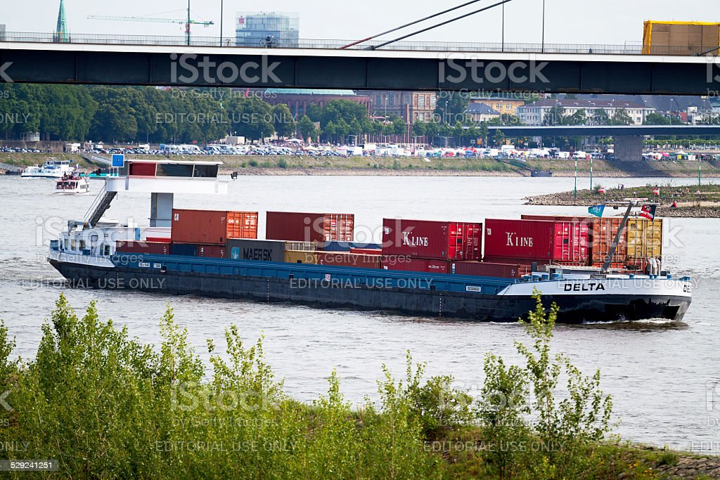 Container freight shipping on Rhine stock photo