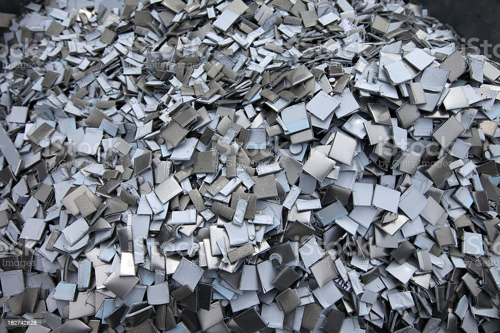 Container full of industrial steel and pvc waste matter stock photo