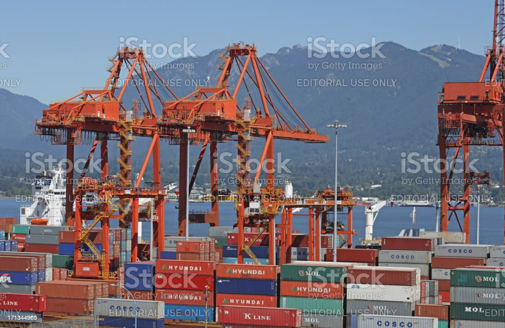 Container Handling Gantry Cranes, Port Metro Vancouver, Burrard Inlet, Canada stock photo
