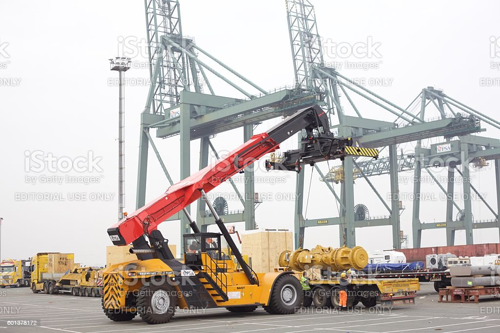 Container Handling Reachstacker in Port stock photo