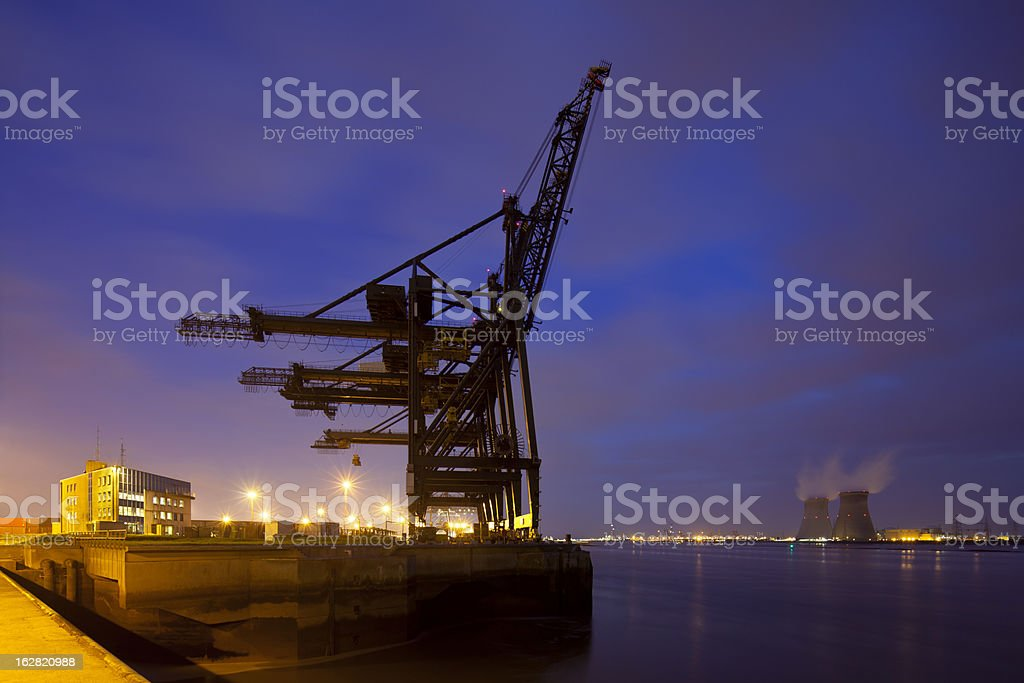 Container Harbor And Power Station At Night royalty-free stock photo