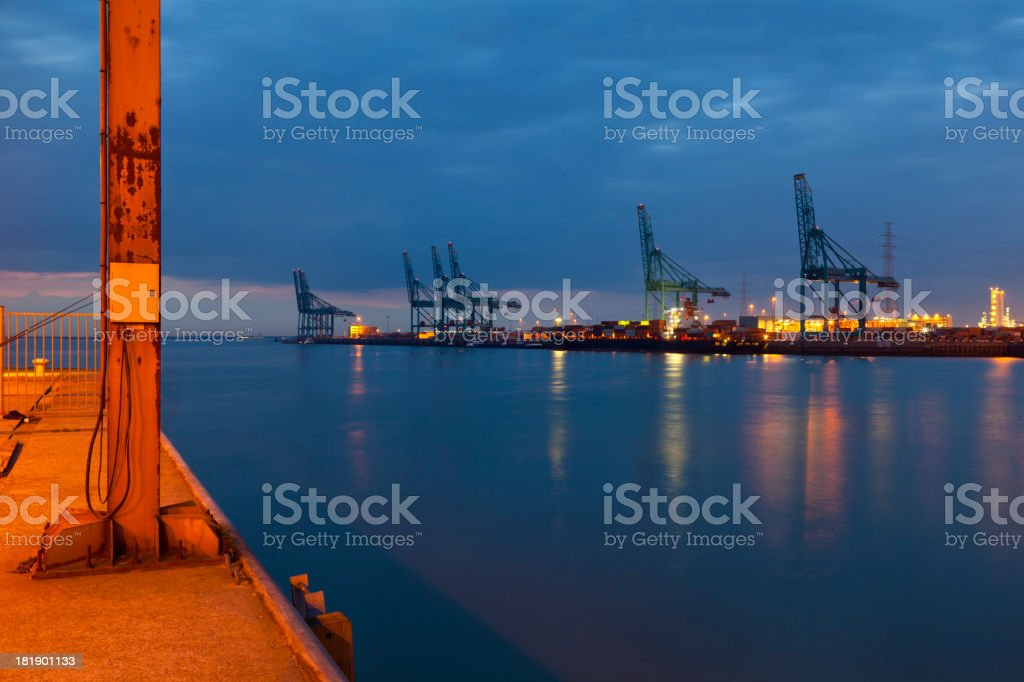 Container Harbor At Night stock photo