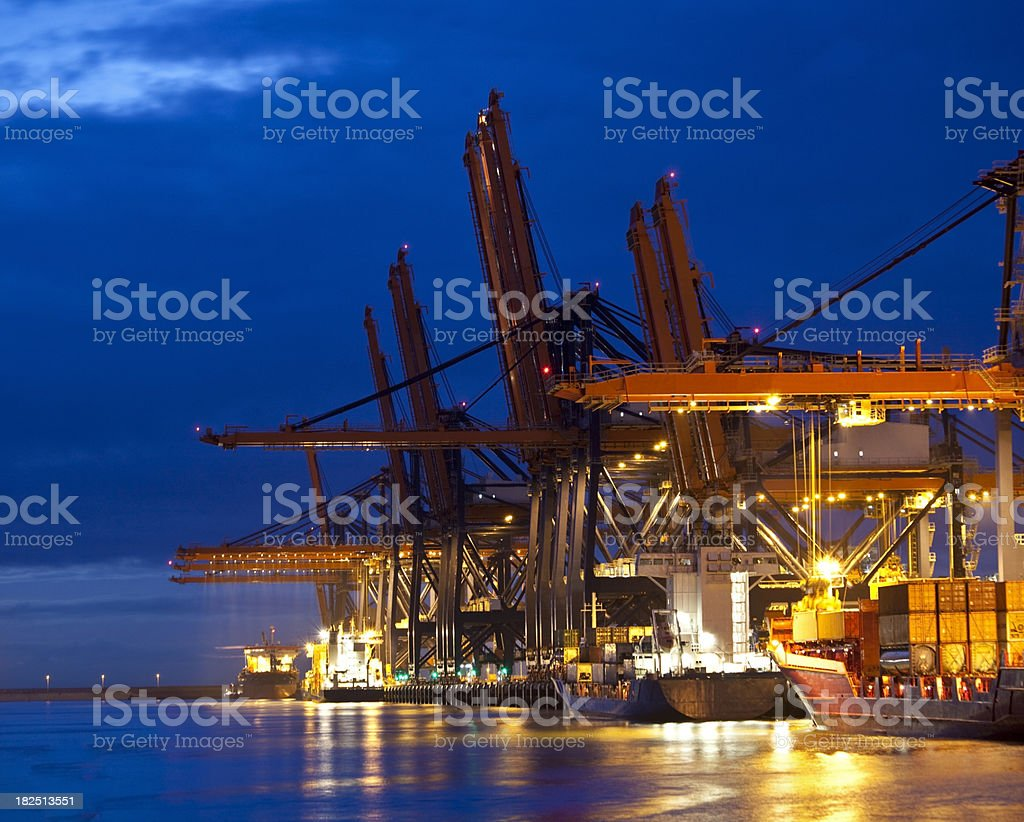 Container harbor at night royalty-free stock photo