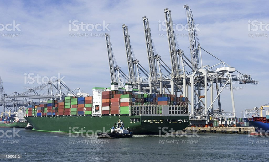 Container harbor of Rotterdam royalty-free stock photo