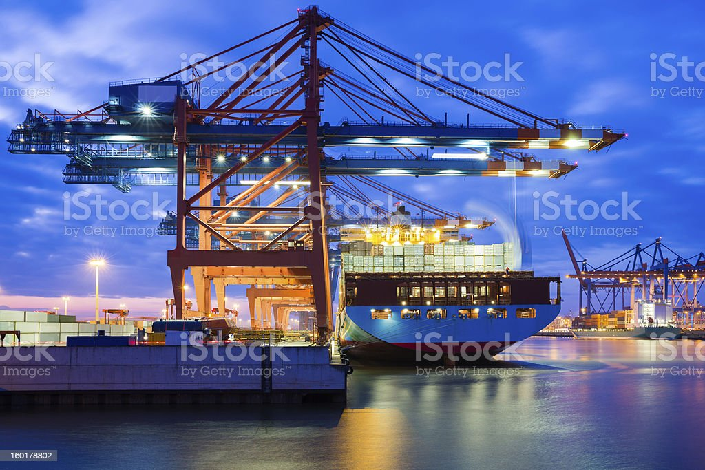 Container in motion stock photo