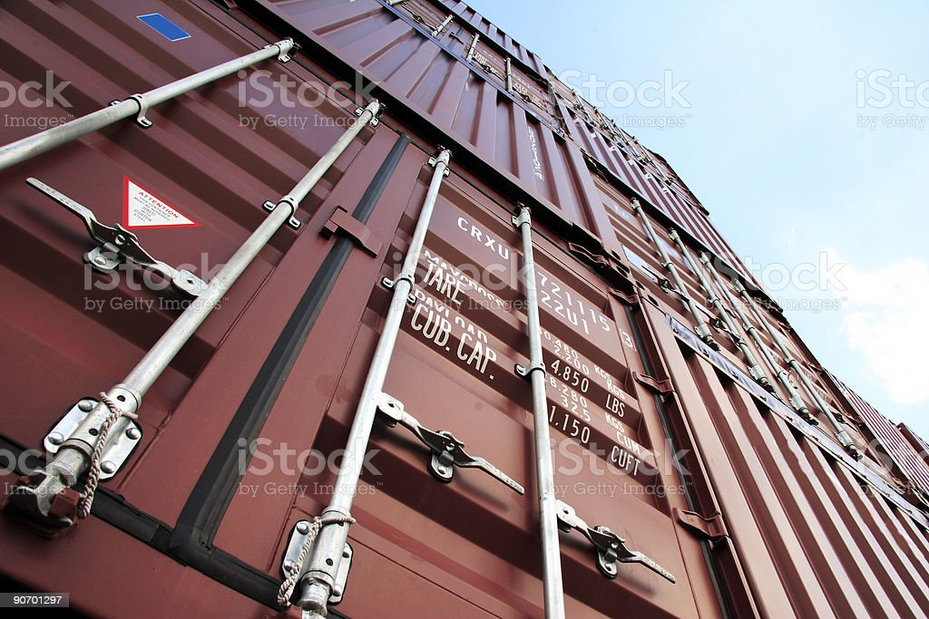 Container in the sky royalty-free stock photo