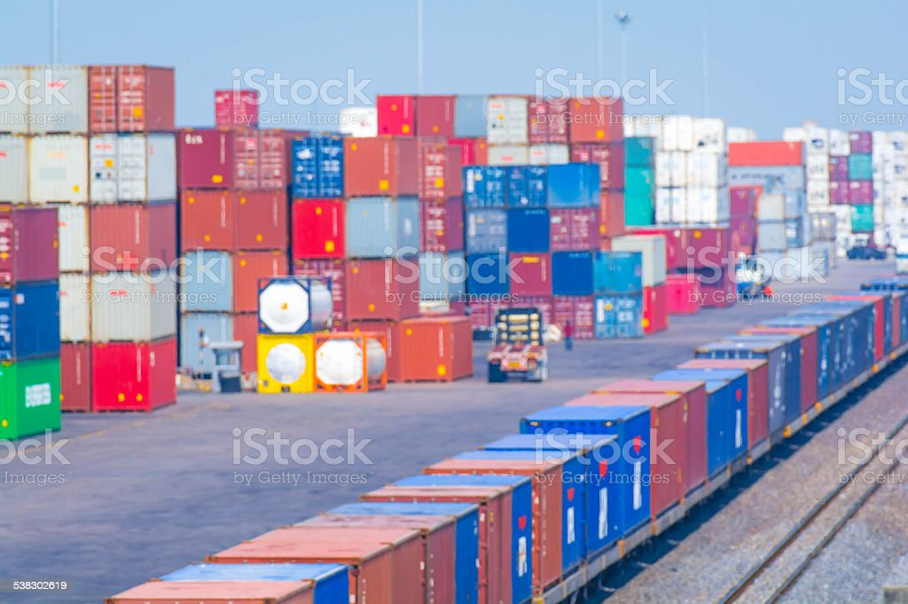 container in yard stock photo