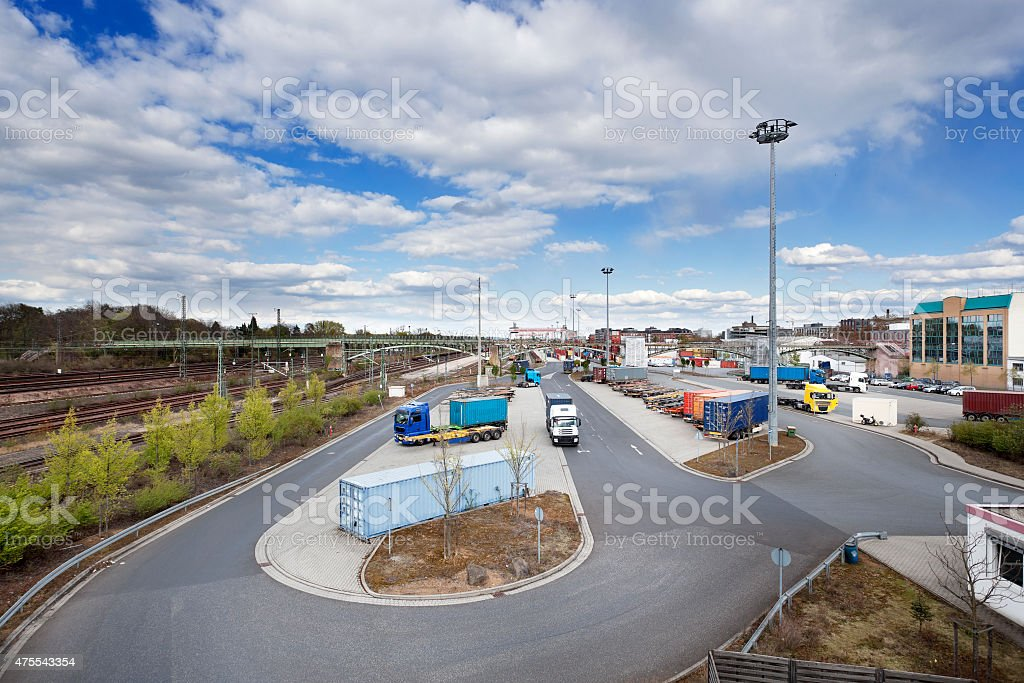 Container loading station, Frankfurt-Ost, Germany stock photo