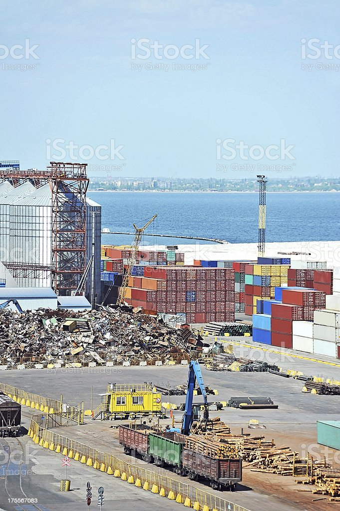 Container, lumber and train in port stock photo