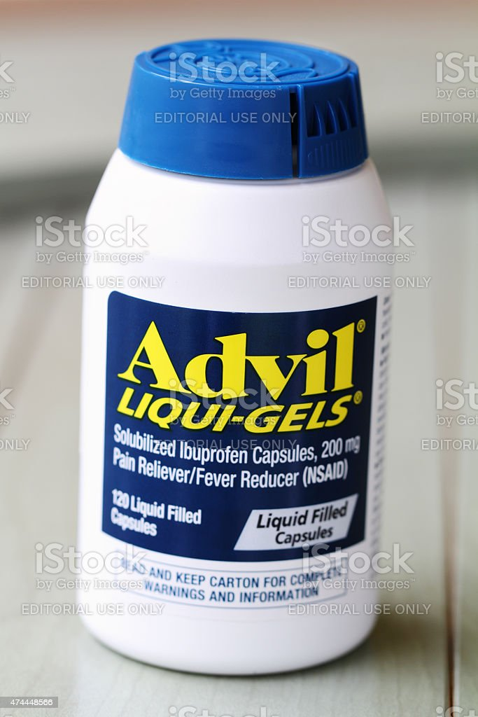 Container of Advil Liqui-Gels Pain Reliever stock photo