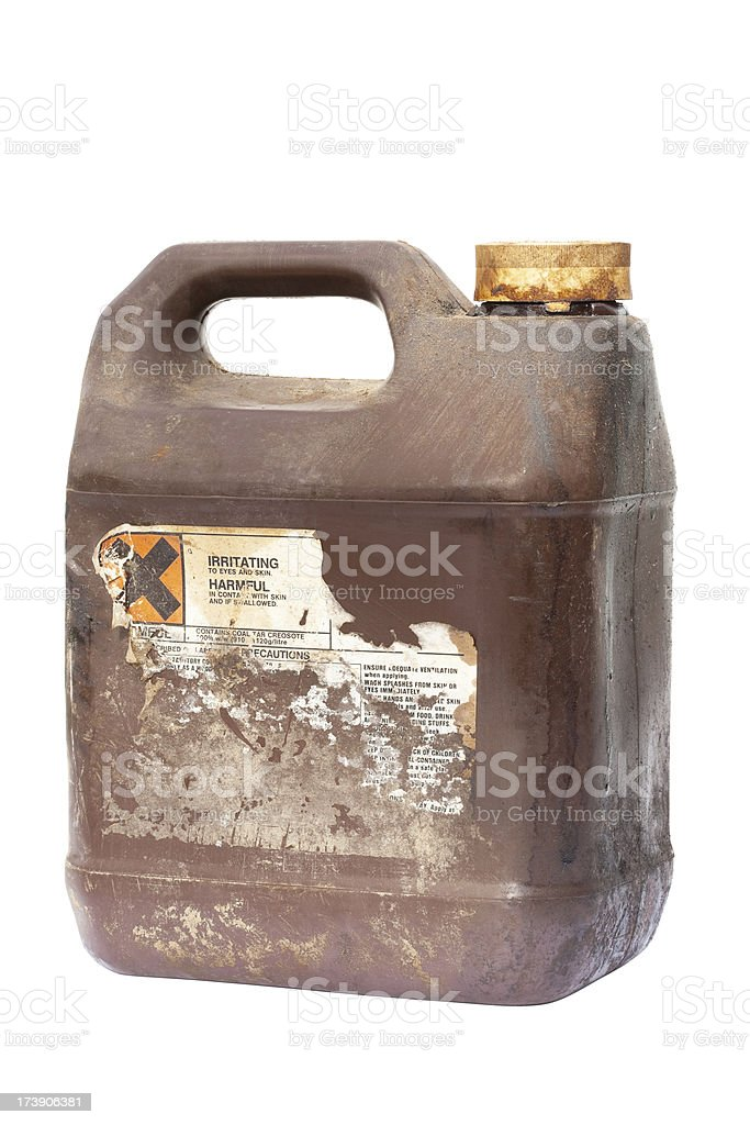 Container of creosote isolated on white royalty-free stock photo