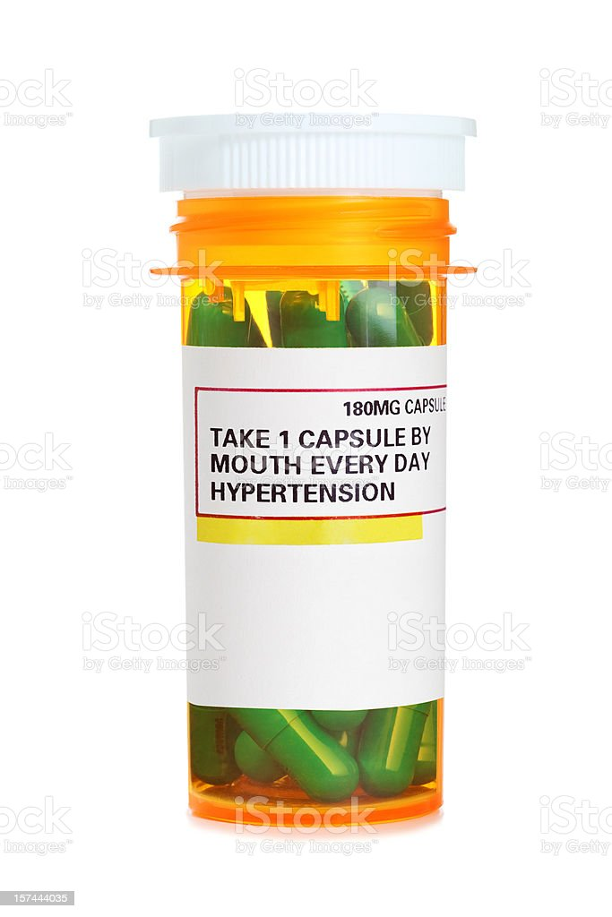 Container of Hypertension Medication stock photo