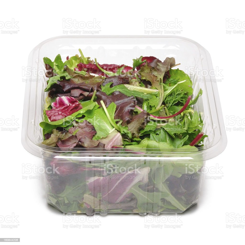 Container of Mixed Greens stock photo