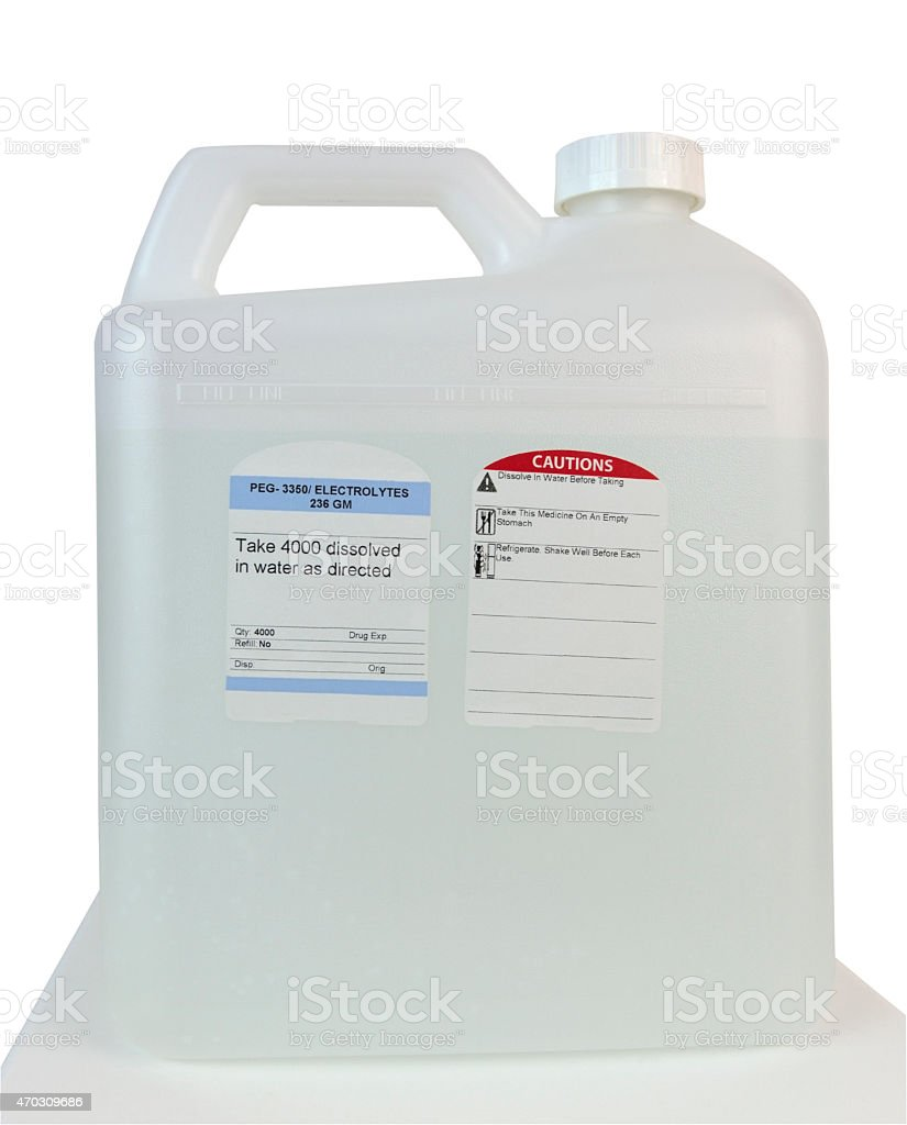 Container of Pre Colonoscopy Electrolyte Laxative stock photo