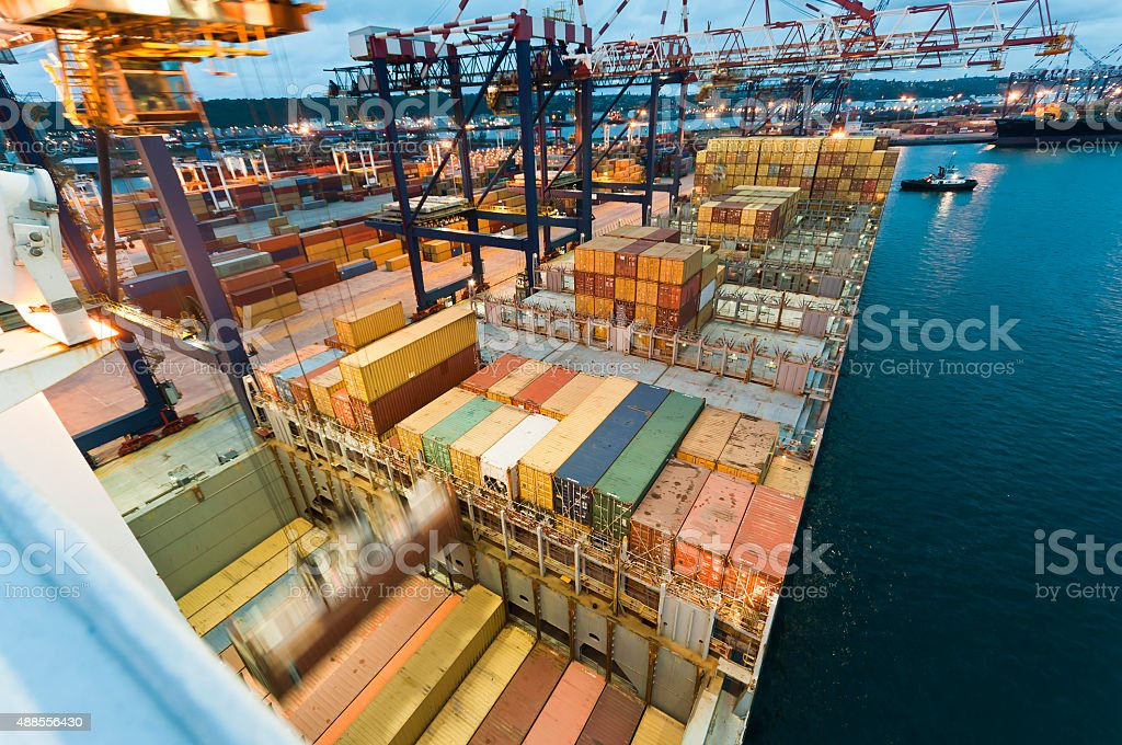 Container operation in port, Durban South Africa stock photo