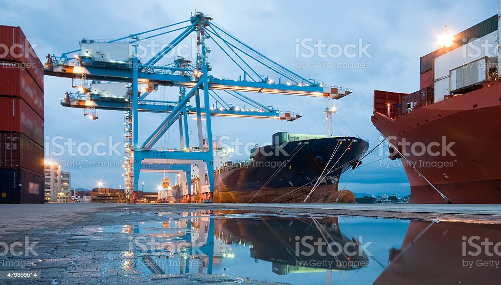 Container operation in port. stock photo