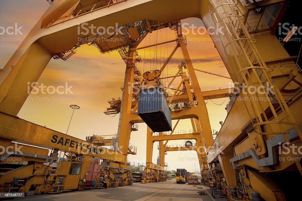 container operation in port stock photo