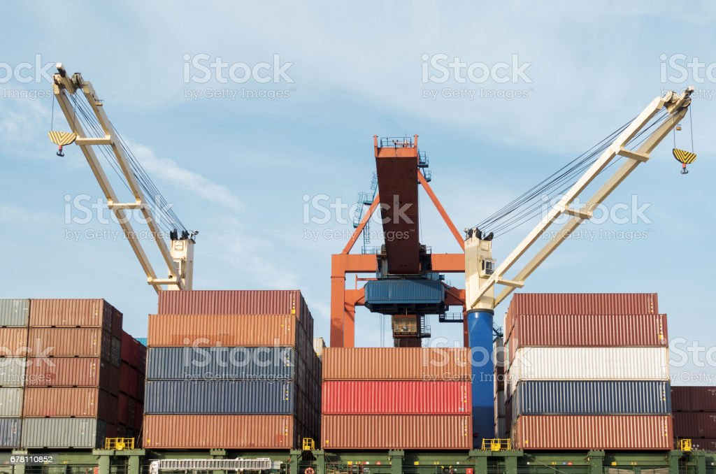 Container port and cargo ship in Haydarpasa District, Istanbul stock photo