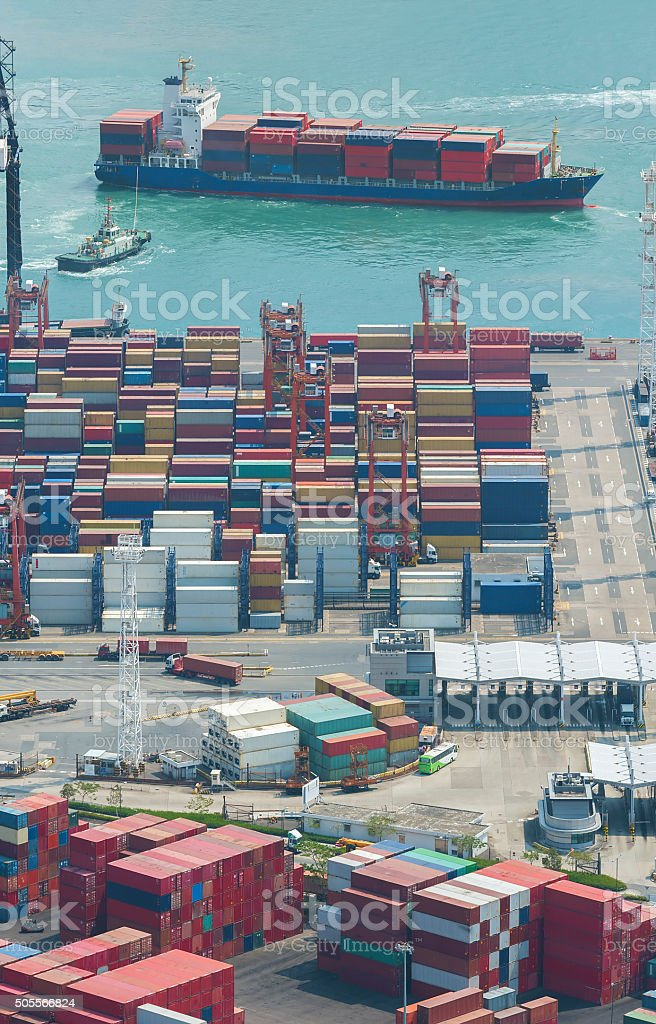 Container port and cargo ship stock photo