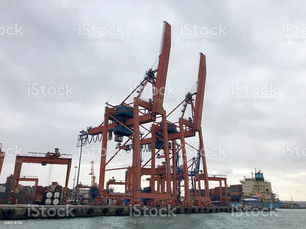 Container Port in Istanbul, Turkey stock photo