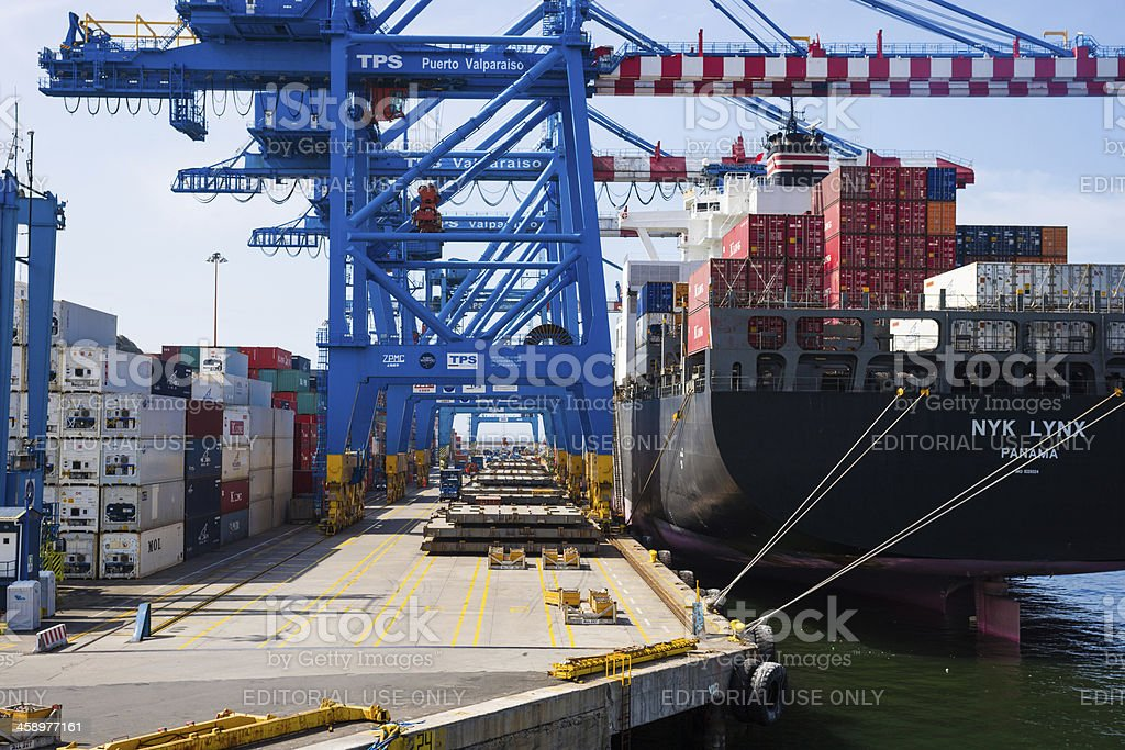 Container Port of Valparaiso, Chile royalty-free stock photo