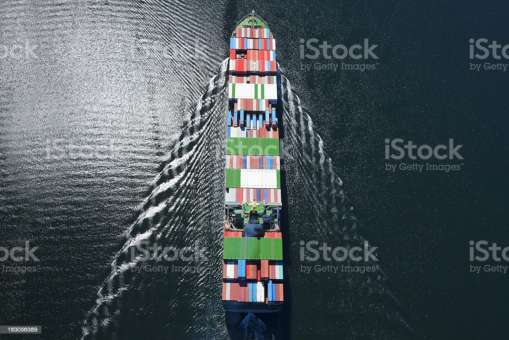 Container Ship Aerial Photo stock photo