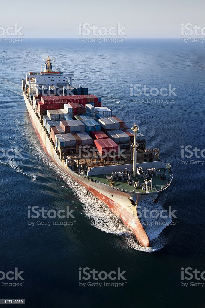 Container Ship Aerial View stock photo