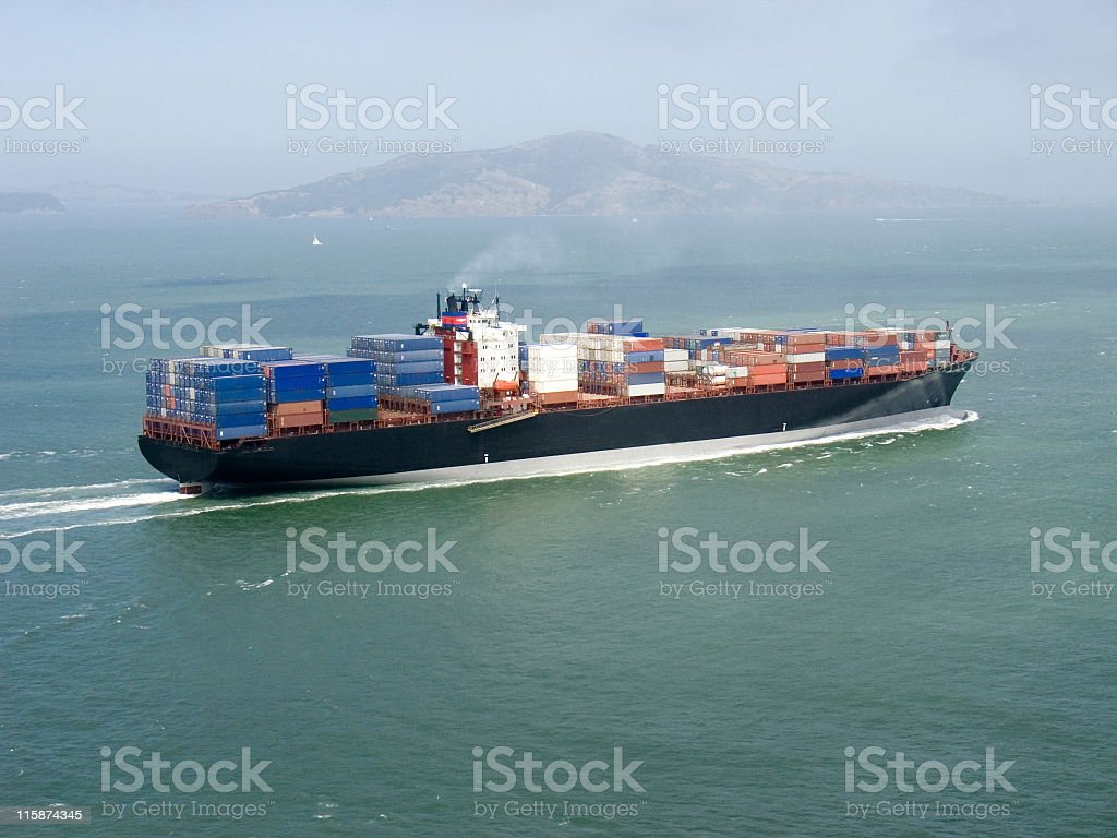 Container ship approaching San Francisco royalty-free stock photo