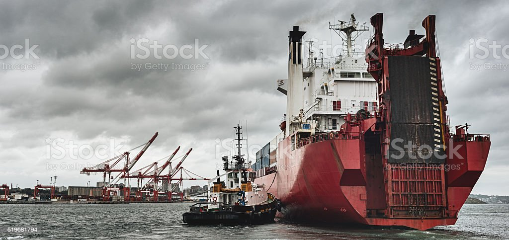 Container Ship Arrives at Port stock photo