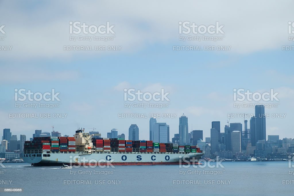 Container ship arriving in Seattle stock photo