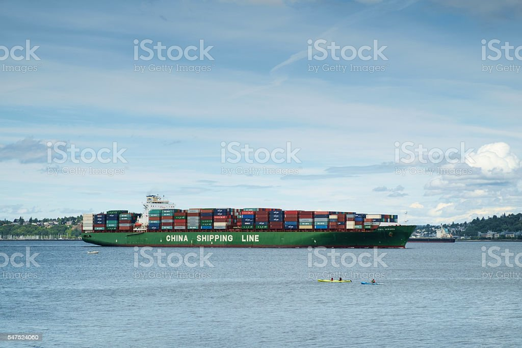 Container ship arriving in Seattle, Washington, USA stock photo