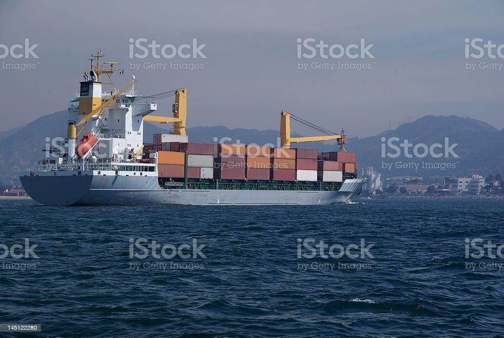 Container Ship Arriving into Manzanillo stock photo
