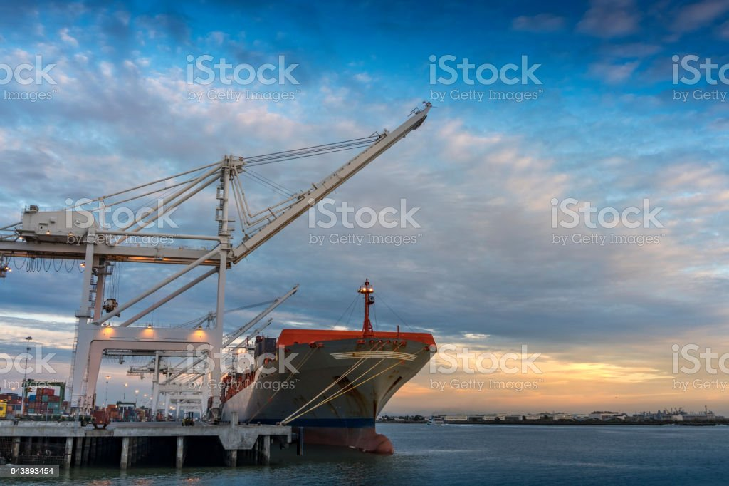 Container Ship at Dusk stock photo