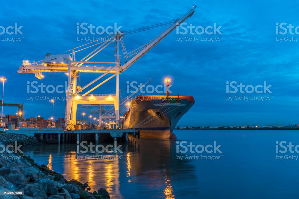 Container ship at light stock photo