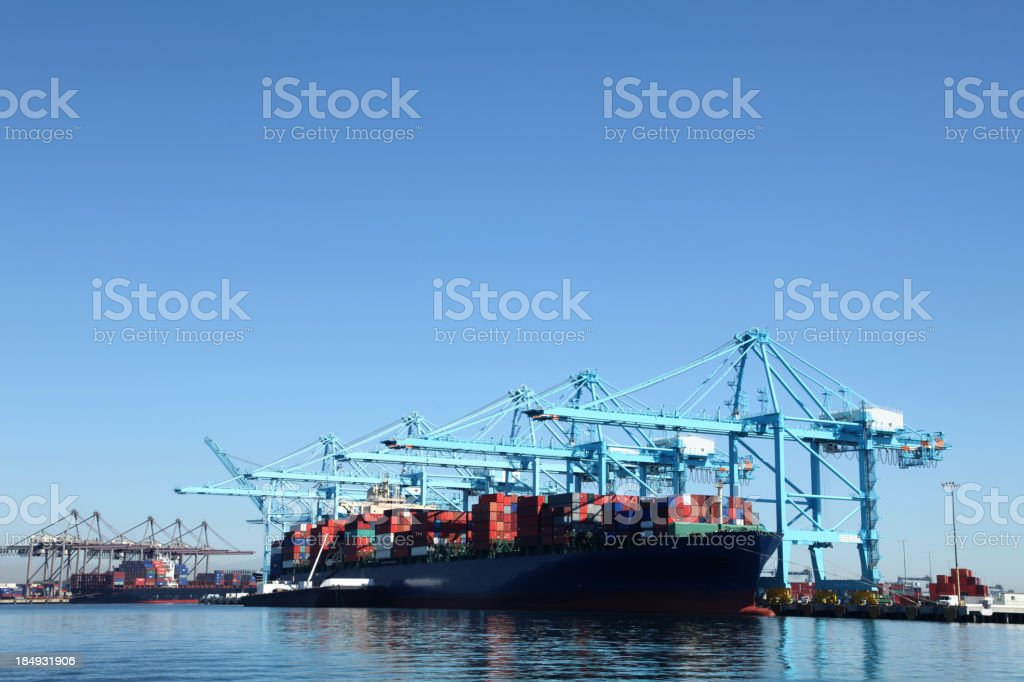 Container ship at Los Angeles Harbor royalty-free stock photo