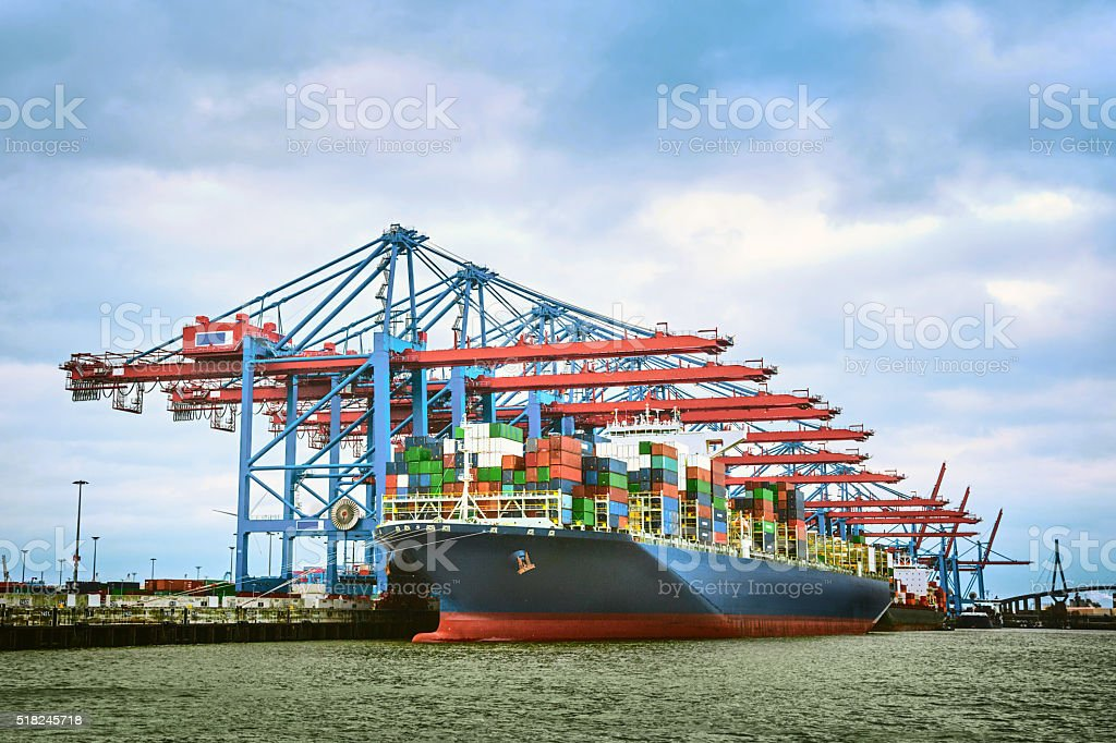 Container ship at terminal in Hamburg stock photo