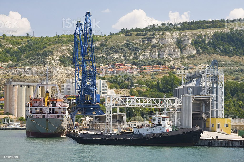 Container ship at the Port Balchik of Bulgaria royalty-free stock photo