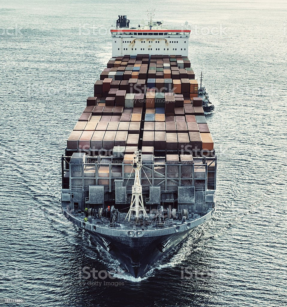 Container Ship bound for Port royalty-free stock photo