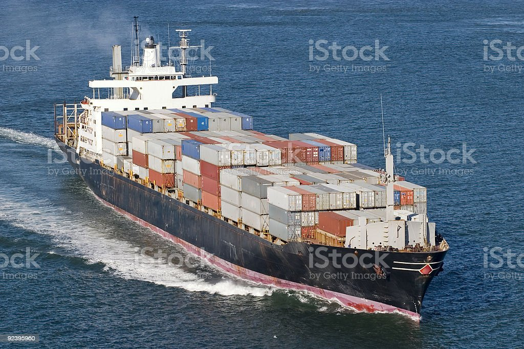 Container Ship Close up stock photo
