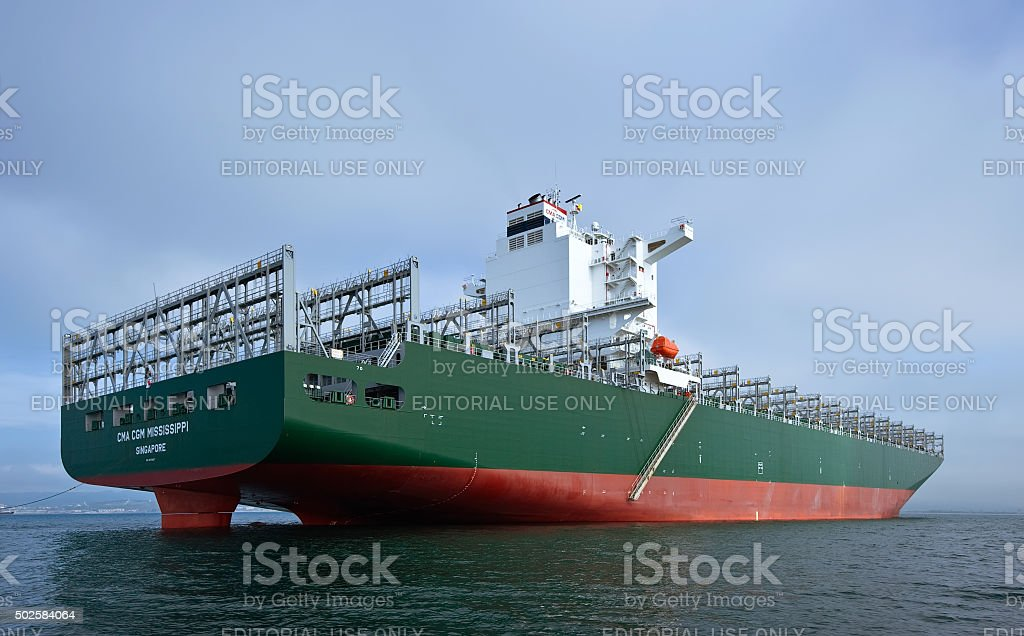 Container ship CMA CGM Mississippi at anchored in the roads. stock photo