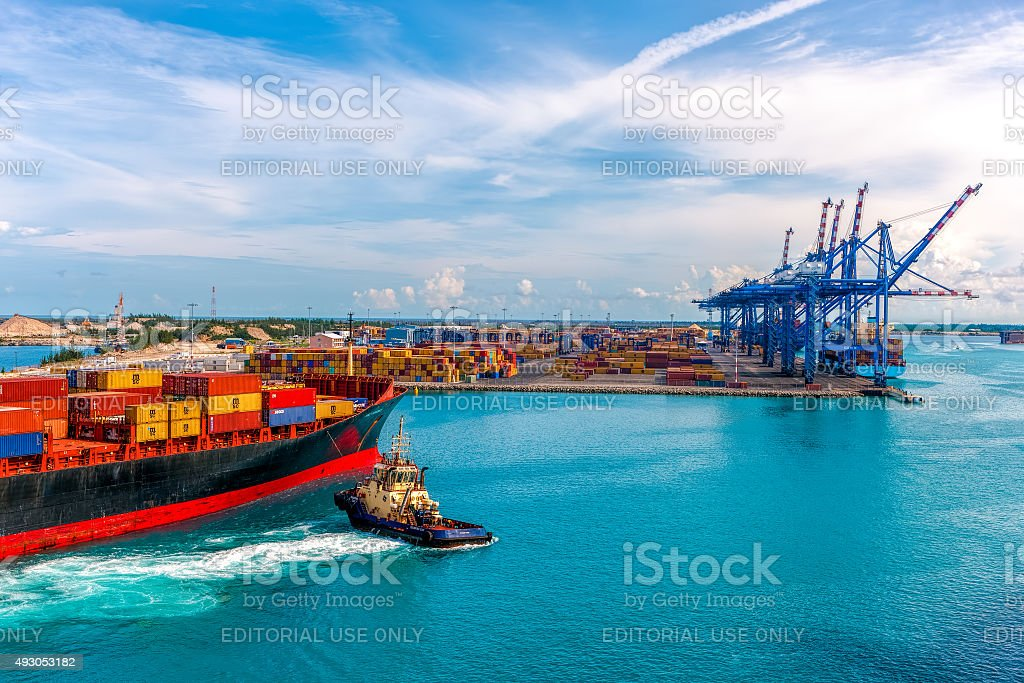 Container ship delivers cargo to the port. stock photo