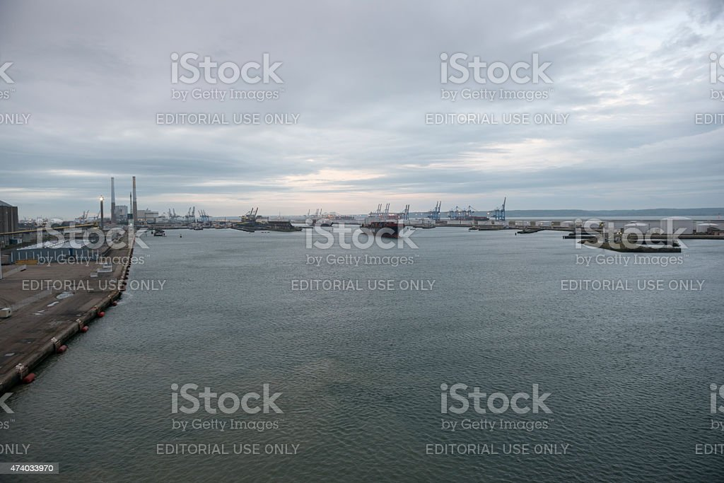 Container ship departing port of Le Havre, France stock photo