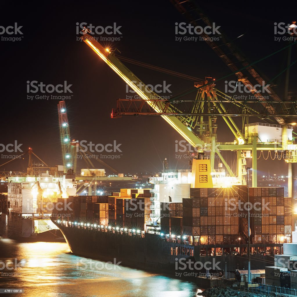 Container Ship Departure stock photo