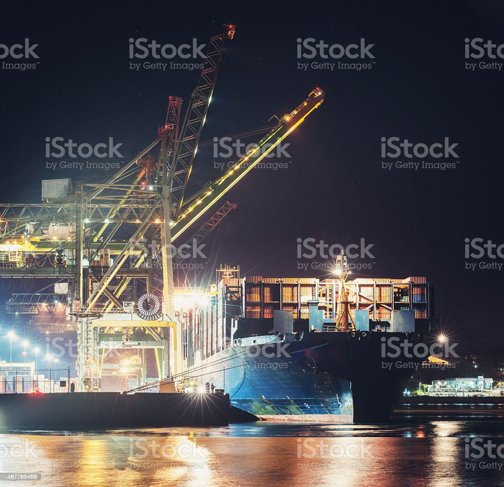 Container Ship Docked at Port stock photo