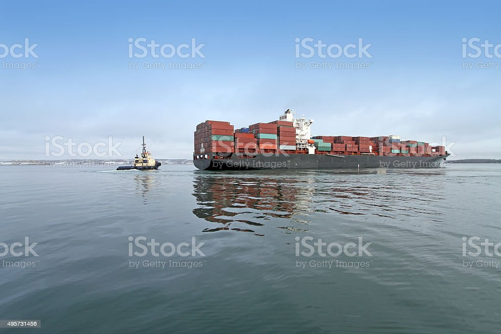 Container Ship Docking In Halifax Harbour stock photo