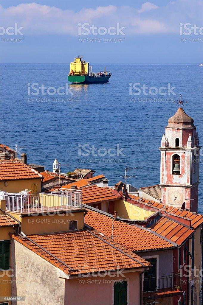 Container Ship - Gulf of La Spezia Italy stock photo