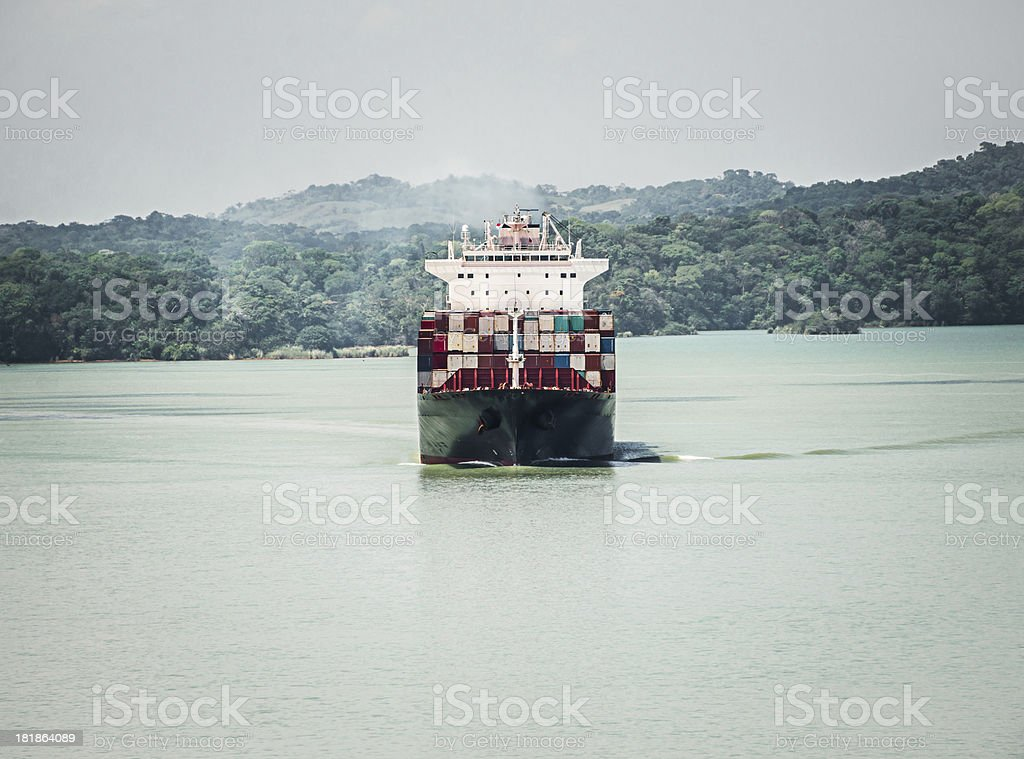 Container Ship in Gatun Lake Panama Canal royalty-free stock photo