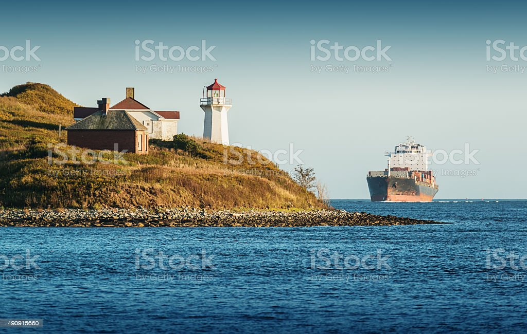 Container Ship in Halifax Harbour stock photo