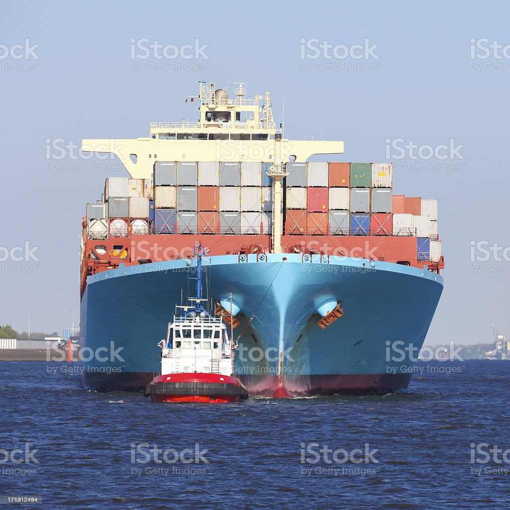 Container ship in Hamburg stock photo