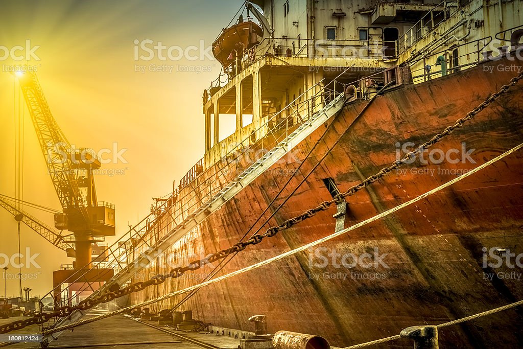 Container ship in harbor royalty-free stock photo
